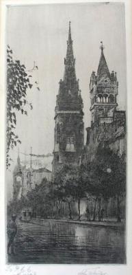 The Gothic Spire in Collins Street, An evening effect 1915. John Shirlow.