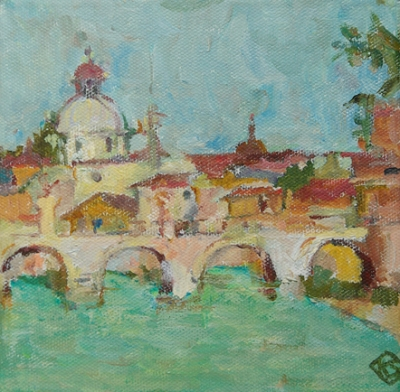 View from the River Tiber, Rome. Kay Stewart.
