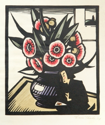 Flowers with Japanese Figurine 1929. Eric Thake.