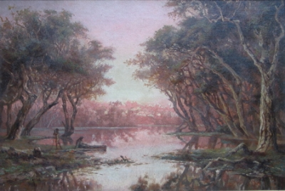 Aborigines Hunting by a River. James Waltham Curtis.