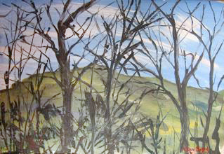 Welsh Hills with Trees. Lucy Boyd.