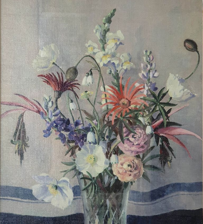 Mixed Blooms in a Glass Vase. Sidney Woodward Smith.