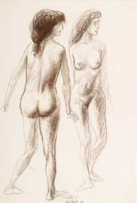 Two Female Nudes 1962. Clifford Bayliss.