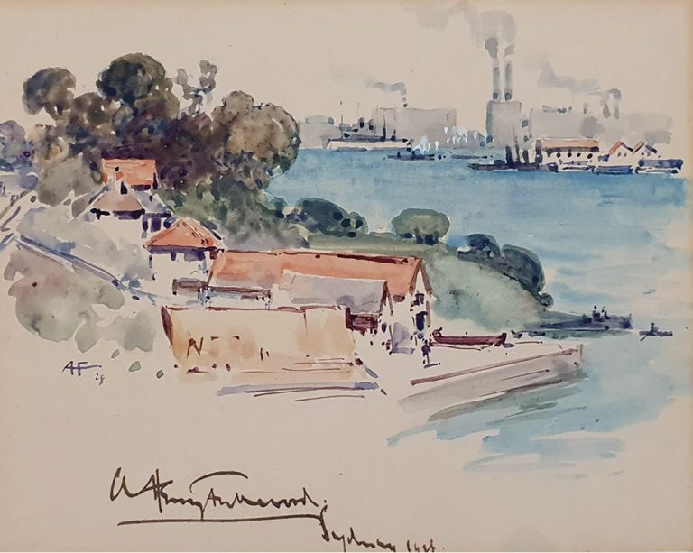 Sydney From the North Shore 1928. Albert Henry Fullwood.