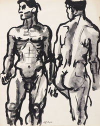 Two Studies Male Nude. Clifford Bayliss.