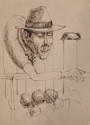 Two men looking over the fence. Clifford Bayliss.