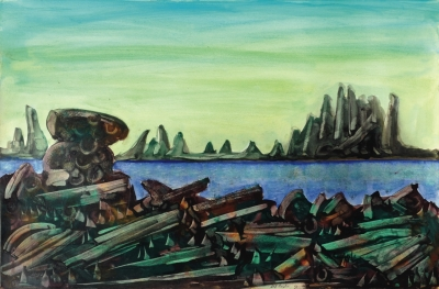 Landscape with perched rock. Clifford Bayliss.