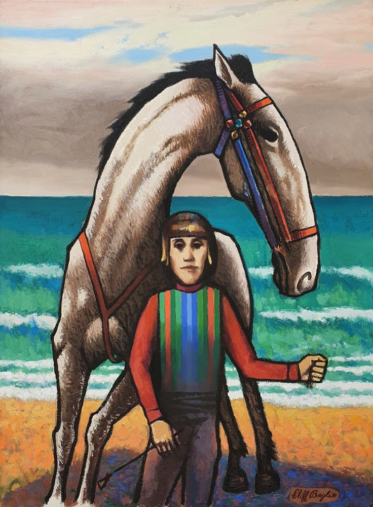Horse and jockey by the sea. Clifford Bayliss.