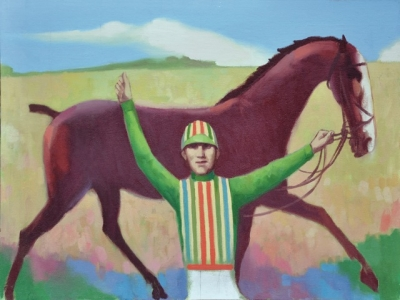 Horse and jockey with arm raised. Clifford Bayliss.