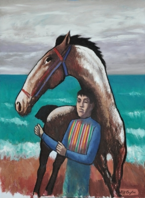 Horse and rider by the sea. Clifford Bayliss.