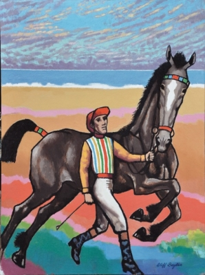 Horse and jockey running by the sea. Clifford Bayliss.