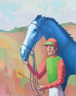 Jockey with blue horse. Clifford Bayliss.