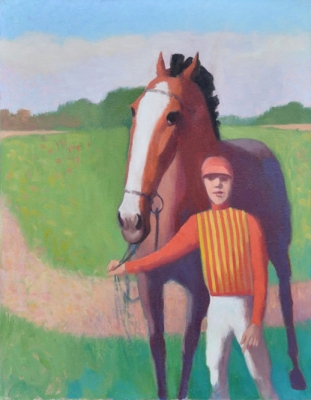 Horse and jockey in orange and yellow. Clifford Bayliss.