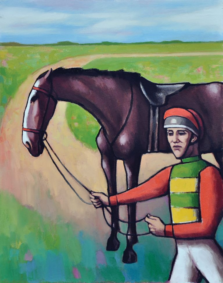Horse and jockey at the track. Clifford Bayliss.