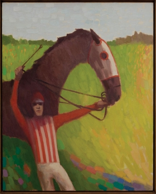 Horse and rider with arm raised. Clifford Bayliss.