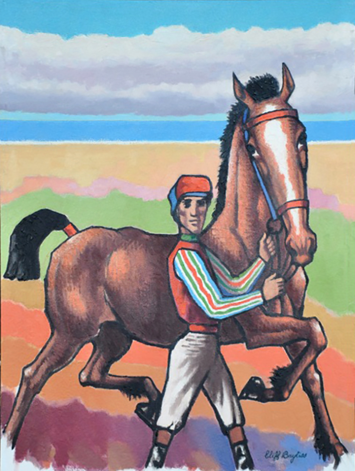 Jockey with horse prancing by the sea. Clifford Bayliss.