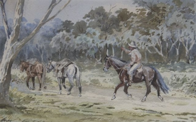 Drover and Pack Horses. Arthur Esam.