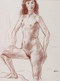 Standing Female Nude with Hand on Knee. Clifford Bayliss.