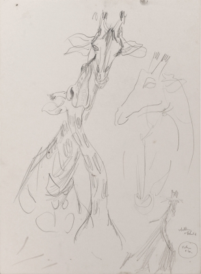 Giraffe Studies, Father and Son. Mary Macqueen.