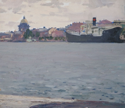 St. Isaac's Cathedral from the Embankment outside the Repin Academy 1968. Vasili Zachinyaiev.