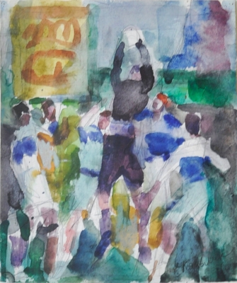Rugby, Line Out II, 1960s. Evgeni Kazmin.