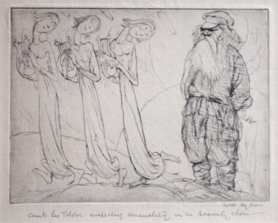 Count Leo Tolstoi Suspecting Sensuality in the Heavenly Choir. Will Dyson.
