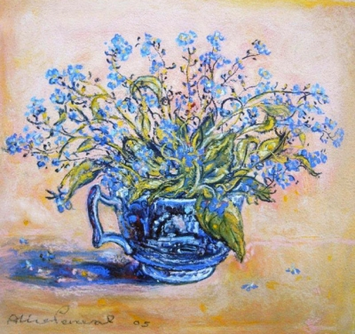 Forget-me-nots in a Blue Cup. Alice Perceval.