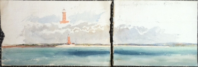 Studies of Dungeness Lighthouse and the coast about Hythe and Sandgate, Kent 1864. Oswald Brierly.