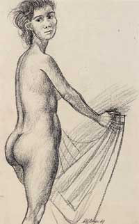 Nude Holding Cloth 1949. Clifford Bayliss.