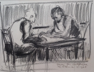 Study for Cardplayers c1968. Vic O'Connor.