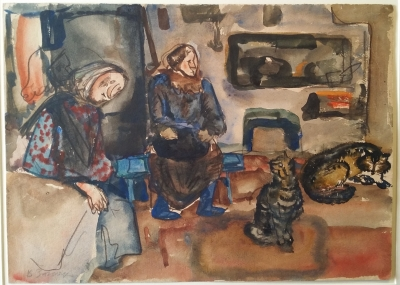 Women and Cats by the Fireplace. Vladimir Burov.