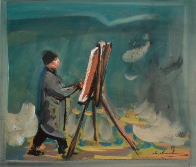Fred Williams Painting at Lysterfield 1960. Ian Armstrong.