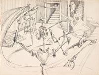 Two Circulating Figures with Stairs c1945. Clifford Bayliss.