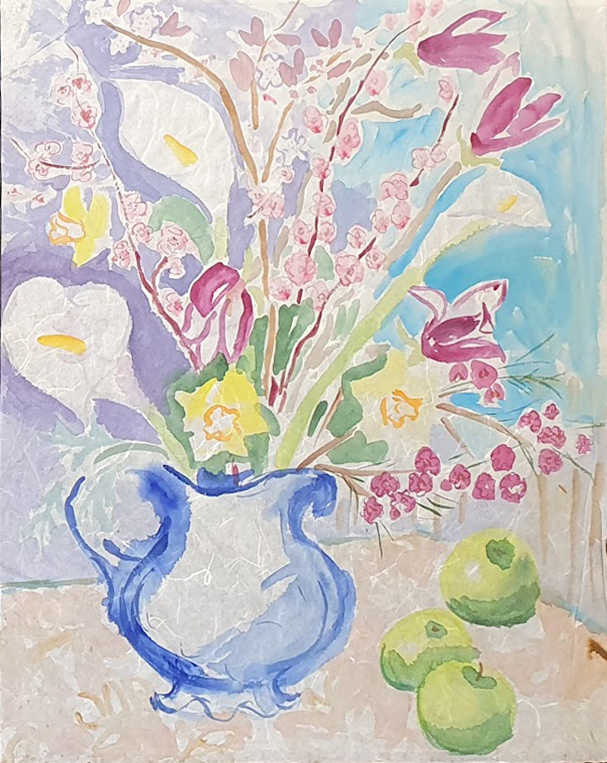 Still Life with Plum Blossom, Lilies, Magnolia, Daffodils and Apples. Nada Hunter.
