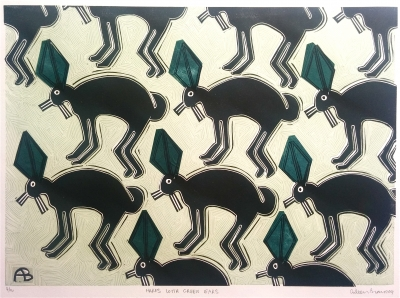 Hares with Green Ears. Aileen Brown.