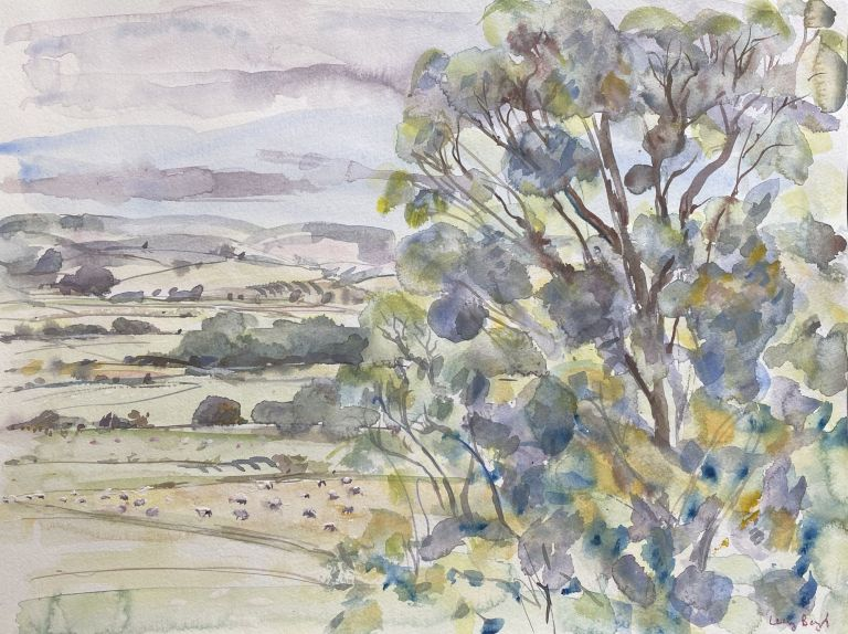 Radnor Valley with Sheep I 2015. Lucy Boyd.