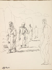 Four Men in Coats with Nude Male c1945. Clifford Bayliss.