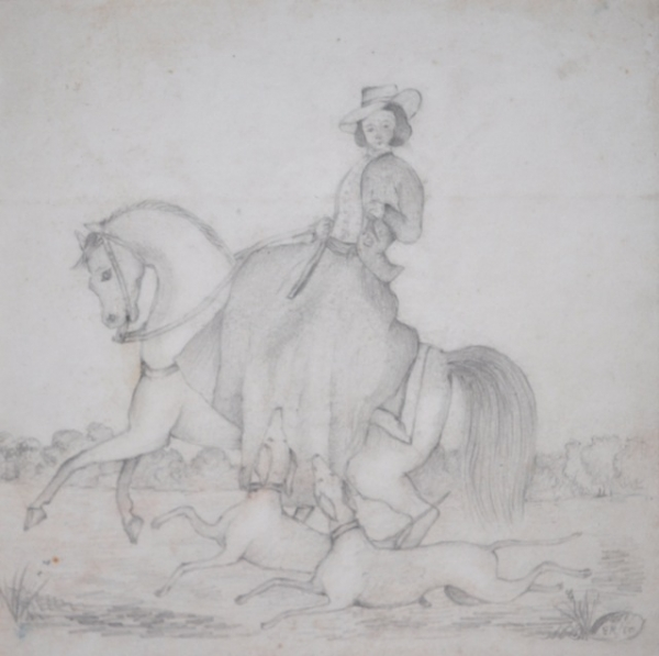 Woman Riding With Hounds 1850. Edward Roper.