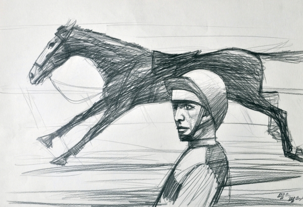 Running Horse and Rider. Clifford Bayliss.
