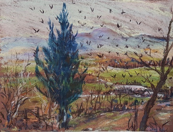 Startled Birds and Pine Tree. Lucy Boyd.