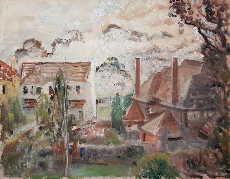 Misty Day, View from the Backyard c1940s. Isabel Tweddle.