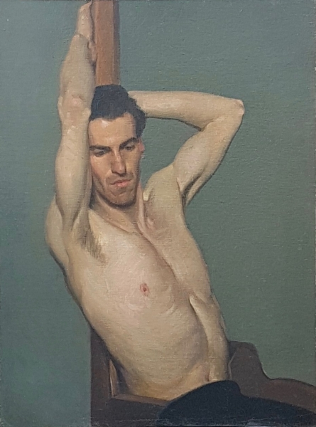National Gallery School Life Study, Male Model c1922. Jean Sutherland.