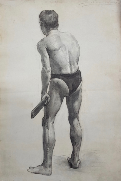 National Gallery School Life Study, Male Model, from back c1922. Jean Sutherland.
