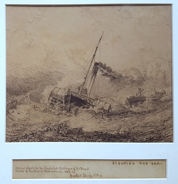 Fighting the Sea 1884. Oswald Brierly.