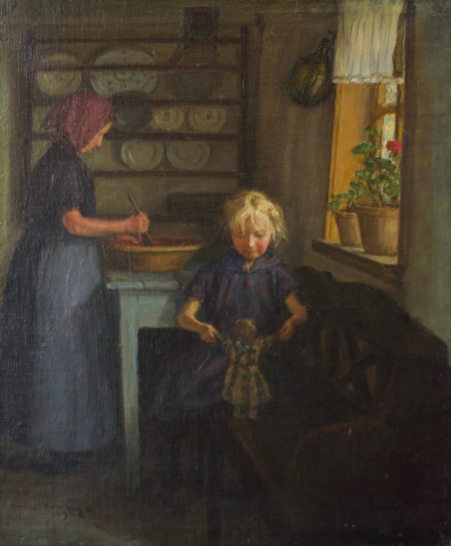 Girl Playing with a Doll 1928. Valdemar Magaard.