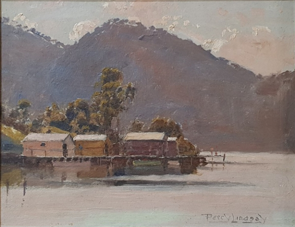 Boathouses on the Hawkesbury. Percy Lindsay.