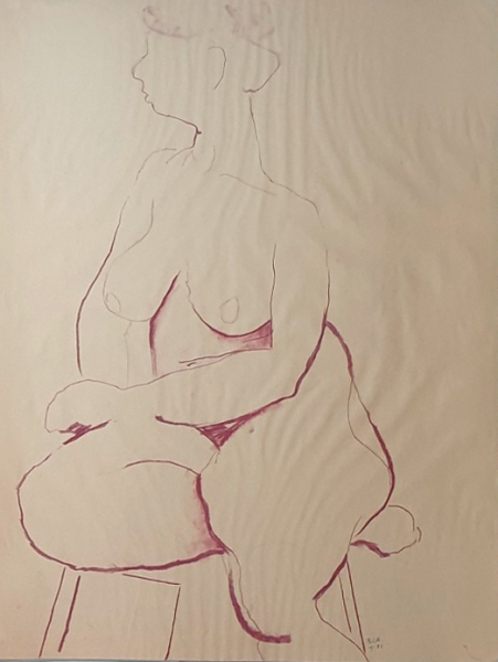 Seated Nude 1981. Brigid Cole-Adams.