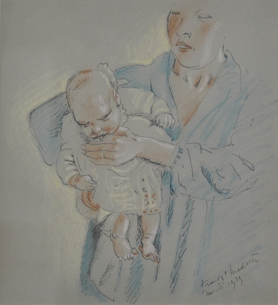 The Artists Wife and Son 1929. Frank Medworth.