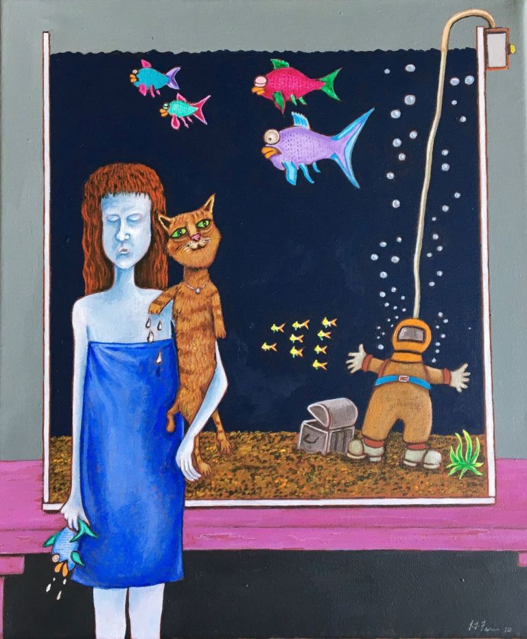 Girl with Tropical Fish 2020. Jeff Ferris.