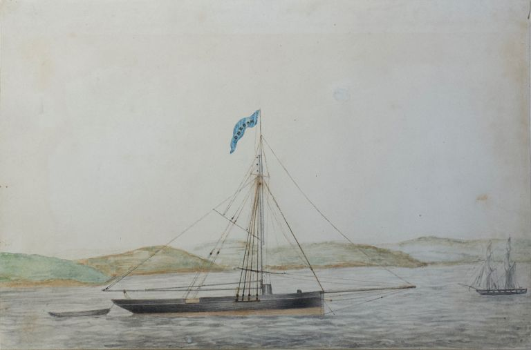 The Cutter Yacht Oberon off the Coast of Ireland 1853. Artist Unknown.